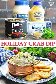 Mom's Best Holiday Crab Dip recipe is an easy appetizer that can be served hot or cold. Perfect make ahead snack or easy appetizer for your next party! This easy crab dip recipe can be served hot or cold, and it only requires about 10 minutes of prep! Crab Dip Recipes, Seafood Recipes, Cooking Recipes, Easy Recipes, Canned Crab Recipes, Beef Recipes, Chicken Recipes, Healthy Recipes, Cooking Games