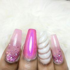 Unicorn nail art.