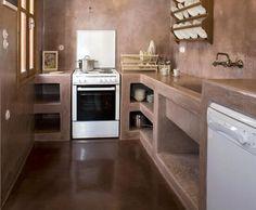 cozinha americana de cimento