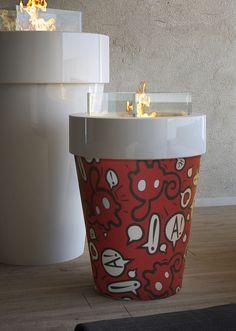 Caminetto al bioetanolo Fuochino Pop Art, MaisonFire, disegnato da Willow.