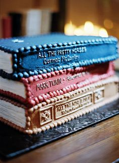 "Tennessee Country Wedding by Jonathan Canlas. Groom's cake was a surprise. It was made to look like a stack of his favorite books: ""All the Pretty Horses"" by Cormac McCarthy, ""The Adventures of Huckleberry Finn"" by Mark Twain, and ""All the King's Men"" by Robert Penn Warren."