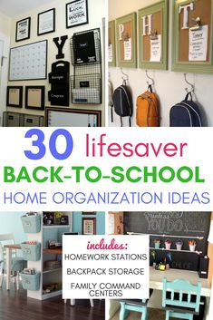 30 Lifesaver Back-to-School Organization Ideas for the Home - A Hundred Affectio. 30 Lifesaver Back-to-School Organization Ideas for the Home – A Hundred Affections 30 Lifesaver Kids School Organization, School Supply Storage, Backpack Organization, Organization Station, Home Organization, Organizing Ideas, Kids Backpack Storage, Family Command Center, Command Centers