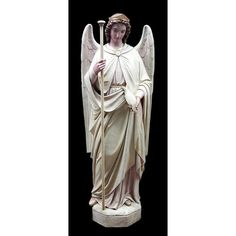 Large statue of the Archangel Raphael. A wonderful piece for a church or alter Angel. This Angel is beautifully done in full color by hand. Made of durable lightweight fiberglass so it is easy to move and set in place. This piece can be used indoors or outdoors with other finish options available as well.