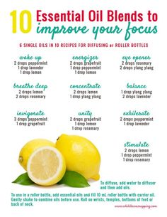 Ever found yourself struggling to focus? These essential oil recipes will help with stress, anxiety and fatigue so you can focus and get stuff done. http://www.whilehewasnapping.com/essential-oil-recipes-focus?utm_campaign=coschedule&utm_source=pinterest&utm_medium=Krista%20%7C%20While%20He%20Was%20Napping&utm_content=10%20Essential%20Oil%20Recipes%20that%20will%20Help%20You%20Focus