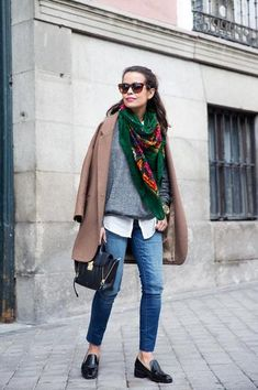 How to Wear Blue Jeans: 60 Outfits to Inspire. Love the scarf and jacket combo (not the jeans).