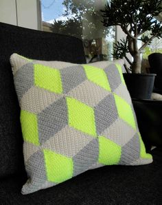 Neon Yellow Isometric Crochet Pillow / Cushion. $65.00, via Etsy.