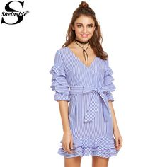 Shop Blue And White Striped Surplice Front Belted Ruffle Dress online. SheIn offers Blue And White Striped Surplice Front Belted Ruffle Dress & more to fit your fashionable needs. Blue Dresses, Casual Dresses, Short Dresses, Fashion Dresses, Mini Dresses, Women's Fashion, Frill Dress, Tie Dress, Summer Dresses For Women