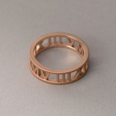 14k, 18k Rose Gold Personalized Roman Numeral Ring. Custom Name, Date, Symbol, Number. Wedding and Anniversaries