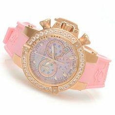 Invicta Womens Subaqua Noma III Swiss Chronograph 3.0ctw Morganite Bezel Polyurethane Strap Watch