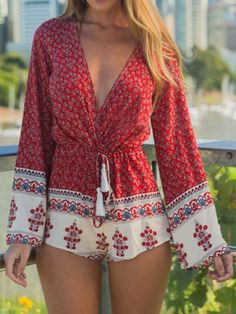 Ethnic Plunging Neck Long Sleeve Printed Drawstring Women's RomperJumpsuits & Rompers | RoseGal.com