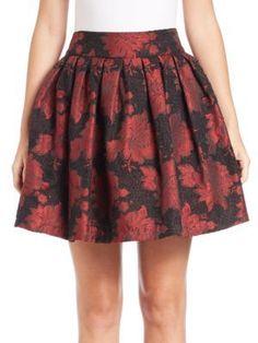 Alice and Olivia Stora Pleated Floral-Print Skirt