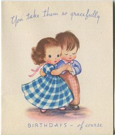 VINTAGE BOY GIRL CHECKERED GINGHAM DRESS GRACEFUL DANCE BIRTHDAY GREETING CARD in Collectibles, Paper, Vintage Greeting Cards | eBay