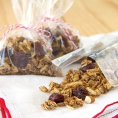 You will love the sweet toasted flavor of homemade granola. Vary the spices, nuts and dried fruit to customize it according to your tastes. This version has cinnamon, almonds and dried cherries. Package in a resealable plastic bag for an on-the-go snack.