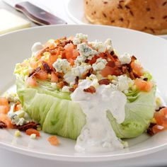 Classic, crunchy & creamy steakhouse salad -- Morton's Iceberg Wedge Salad