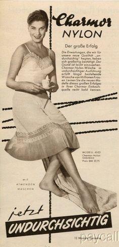 1956 Ad Women's Underwear Charmor Nylon Unterkleid   Collectibles, Advertising, Clothing, Shoes & Accessories   eBay!
