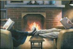 Nothing better than sitting together by the fire and reading.