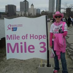 Cheryl walking at Strides for breast cancer 2013 as a survivor.
