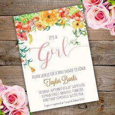 Whimsical Girl Baby Shower Invitation, girl baby shower invite, baby shower, floral baby shower, watercolor baby shower invitation by StudioPip on Etsy https://www.etsy.com/listing/472429092/whimsical-girl-baby-shower-invitation