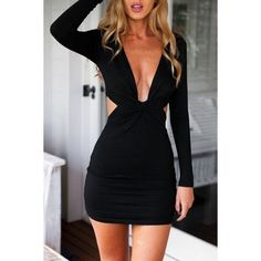 Fashion Cut-out Front Backless Body-con Dress ($14) ❤ liked on Polyvore featuring dresses, black, black dress, black backless cocktail dress, cut out bodycon dress, black cocktail dresses y black cutout dress