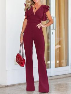 Solid Plunge Flutter Sleeve Scrunch Flared Jumpsuit Women's Best Online Shopping - Offering Huge Discounts on Dresses, Lingerie , Jumpsuits , Swimwear, Tops and More. Jumper Outfit Jumpsuits, Jumpsuit Outfit, Long Jumpsuits, Jumpsuits For Women, Evening Jumpsuits, Pant Jumpsuit, Off Shoulder Jumpsuit, Jumpsuit With Sleeves, Kate Middleton Outfits