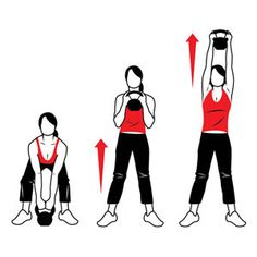 KETTLEBELL - Snatch Pull & Push-Press. 10x. Works shoulders, back, arms, hips, glutes, and hamstrings