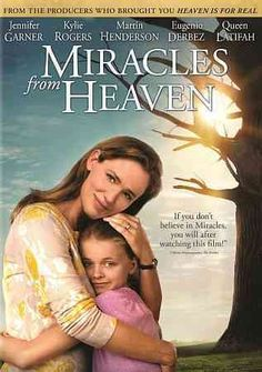 MIRACLES FROM HEAVEN (DVD Release Date: 7/12/16) Starring: Jennifer Garner, Kylie Rogers, Martin Henderson -- Based on the incredible true story of the Beam family. When Christy discovers her ten year old daughter Anna has a rare, incurable disease, she becomes a ferocious advocate for her daughter's healing as she searches for a solution. After Anna has a freak accident and falls three stories, a miracle unfolds in the wake of her dramatic rescue that leaves medical specialists mystified.