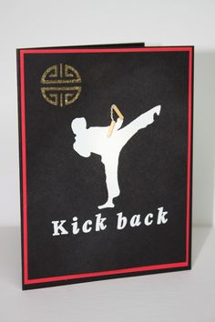 Hand carved Karate card. Lotte Huxley Kick Backs, Karate, Hand Carved, Carving, Stamp, Cards, How To Make, Poster, Wood Carving