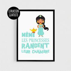 Affiche citation Princesse 21x30cm - poster pour enfant - esprit scandinave poster A3 humour couleurs - poster princesses