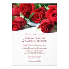 Red Roses Wedding Invite. A romantic invitation for your wedding, with red roses laid out on a white background combined with elegant fonts in a matching color.