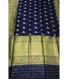 Blue Banarasi Handloom Pure Katan Silk Saree