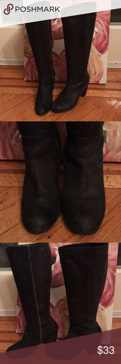 Knee high black genuine leather boots I don't remember the brand as it faded out but I usually buy bandolino, Vince Camuto , tahari and Nine West for  boots. These are in pretty good condition ..some staining from walking around in the winter but I believe you can clean them with some leather products. There is a tiny indent in the heel as evident in the last picture Shoes Heeled Boots