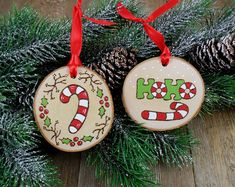 Candy Cane Wood Burned Birch Slice Christmas Ornaments Hand Burned Painted Set of 2