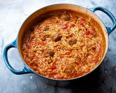 Meatballs with Orzo One Pot Dishes, One Pot Meals, Pasta Dishes, Main Dishes, Main Meals, Beef Dishes, Orzo Recipes, Cooking Recipes, Savoury Recipes