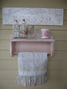 Shabby Chic pink paper towel holder Vintage towel/ by Fannypippin, $32.50