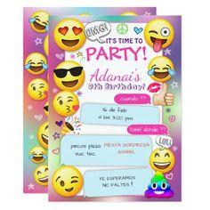 Invitaciones de la fiesta de cumpleaños de Emoji,