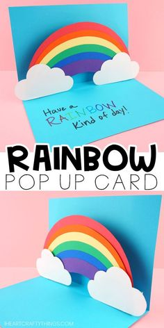 How to Make an easy pop up Rainbow Card Easy pop up rainbow card for kids and adults to make. Free template and step by step instructions for pop up card making idea. Fun paper craft and rainbow craft for kids. Diy Crafts For Gifts, Paper Crafts For Kids, Easy Crafts For Kids, Diy For Kids, Card Making For Kids, Yarn Crafts, Rainbow Card, Rainbow Paper, Simple Birthday Cards