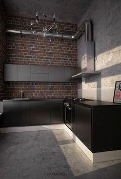 Trendy Kitchen Decor Red And Black Exposed Brick Ideas Kitchen Corner Units, Loft Kitchen, Urban Kitchen, Kitchen Tile, Kitchen Floor, Home Design Decor, Küchen Design, House Design, Design Blogs