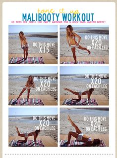 Malibooty Workout: Click the pic for an animated version of the workout. Finally, see the movement instead of just a description of what to do