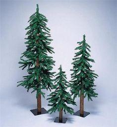 Sterling 3-piece Pre-Lit Artificial Alpine Christmas Tree Set ...
