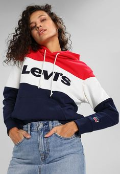 9a8bb835d06 COLORBLOCK SPORT HOODIE - Sweat à capuche - chinese red white peacoat Robe  Levis