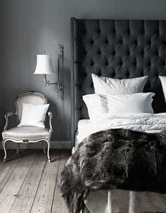 ♅ Dove Gray Home Decor ♅ luxurious grey bedroom with faux fur duvet throw and tufted headboard
