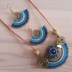 Beautiful Blue Earrings Macrame Earrings Wearable Art Wire
