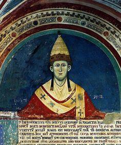 Pape Innocent III, Monastère de Subiaco (Italie), fresque du XIIIe siècle