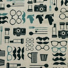 Tela FQ :: gafas y mostachos :: de nosgustanlosretros por DaWanda.com