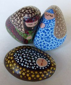 Small Dotted Decorative Stone Nativity Set
