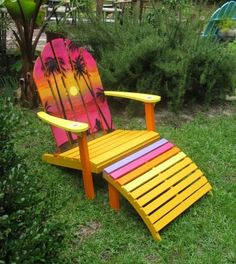 Painted Adirondack Chair in Pink Yellow with Sunset Palm Trees.