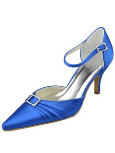 Elegant Royal Blue Satin Rhinestone Pointed Toe Ankle Strap Brides Shoes. See More Bridal Shoes at http://www.ourgreatshop.com/Bridal-Shoes-C919.aspx