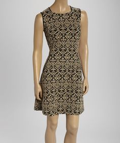 Love this Black & Taupe Tribal Pocket Sleeveless Dress - Women by Sharagano on #zulily! #zulilyfinds