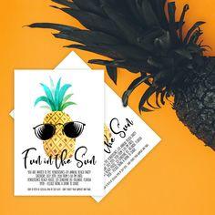 Pineapple Invitation. Fun In The Sun Beach Party Invitation. Summer Invitation. Beach Party Invitation. Summer Party. Beach Party.