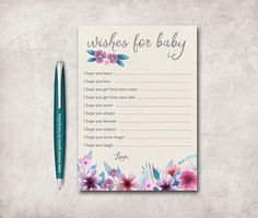 Wishes for Baby Printable, Baby Shower Games, Floral Baby Shower Wishes for Baby, Printable Baby Wishes, Girl Baby Shower games, Digital
